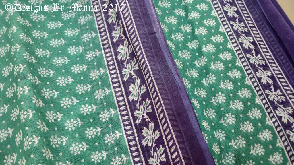 Turquoise Blue Indian Sari Fabric Handloom Block Printed