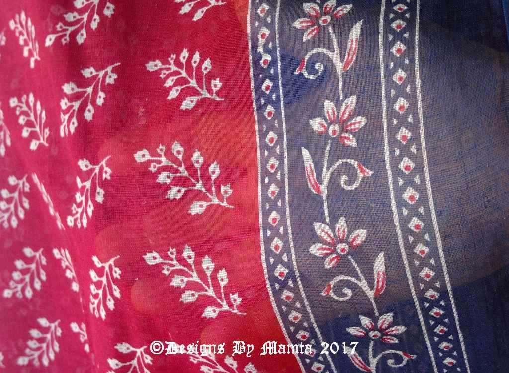 Magenta Pink Indian Floral Sari Fabric By The Yard Border