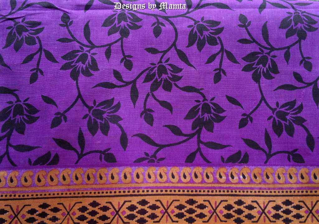 Lotus Print Purple Indian Sari Fabric Ethnic Indian