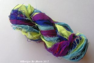 Indian Peacock Sari Silk Ribbon Yarn