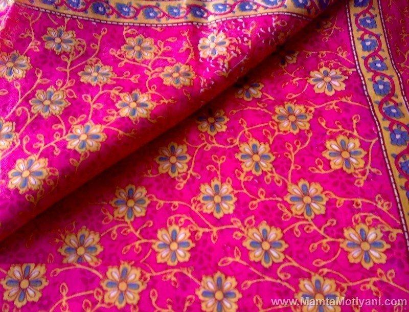 Shocking Pink Floral Sari Fabric Yard Unique Saree
