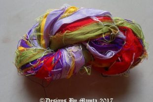 Iris Flower Silk Sari Ribbon Yarn