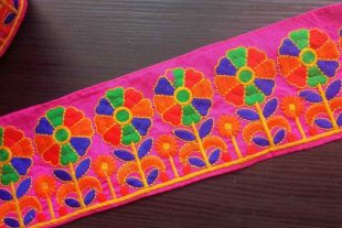 Kutchi Banjara Pink Embroidered Trim