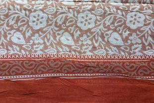 Light Brown Floral Saree Fabric