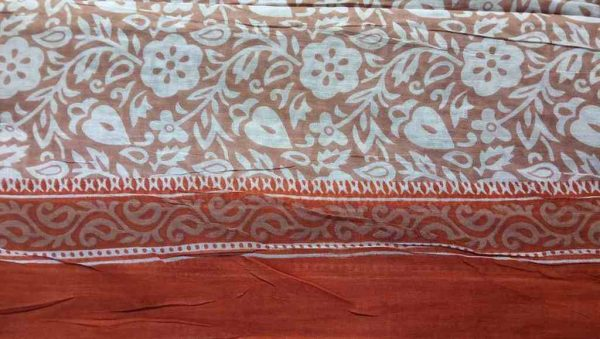 Light Brown Floral Saree Fabric