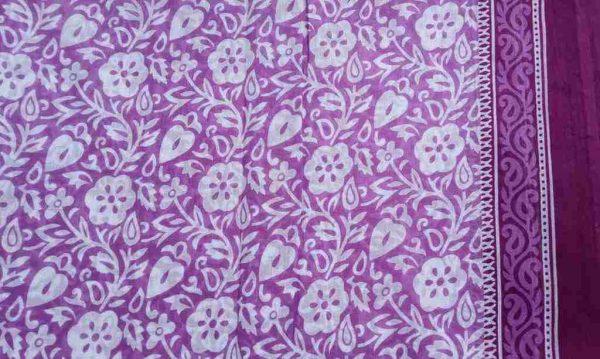 Light Purple Floral Saree Fabric
