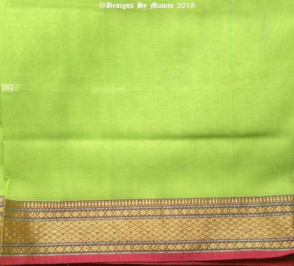 Lime Green Gold Indian Ilkal Sari Fabric