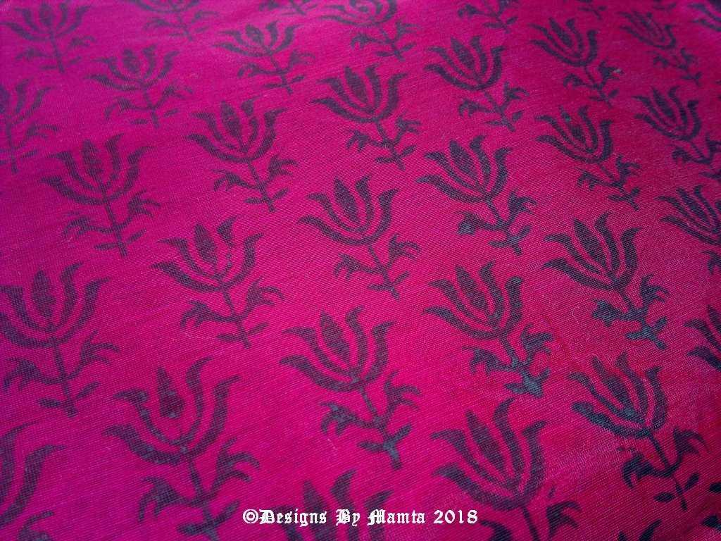 Magenta Pink Floral Print Indian Fabric Designer Fabrics Of India