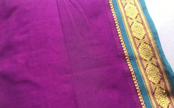 Magenta Purple Ilkal Sari Fabric
