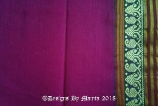 Magenta Purple Indian Ilkal Sari Fabric