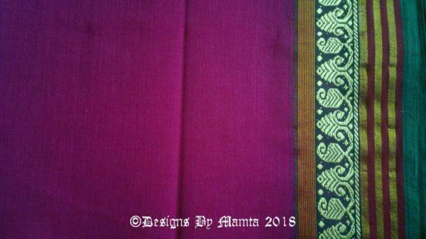 Magenta Purple Indian Ilkal Sari Fabric