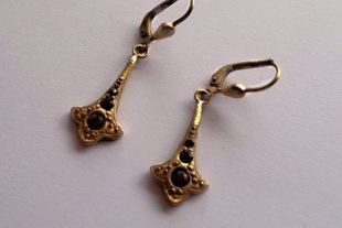 Marcasite Vintage Earrings With Smoky Quartz Gemstones