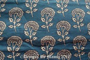 Marigold Print Blue Indian Chambray Fabric