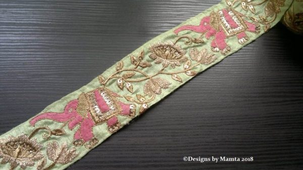Mint Embroidered Lace Trim
