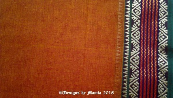 Mustard Brown Indian Cotton Sari Fabric