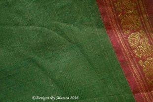Olive Green Indian Ilkal Sari Fabric