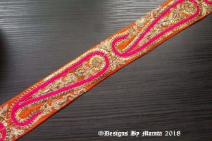 Orange Pink Gold Embroidered Trim