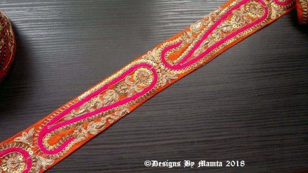 Orange Pink Gold Embroidered Trim