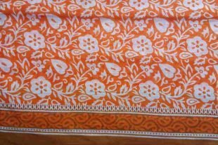 Orange White Floral Sari Fabric