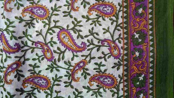 Paisley Green Floral Sari Fabric