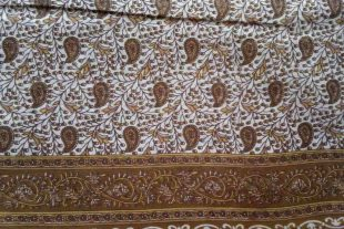 Paisley Print Brown Sari Fabric