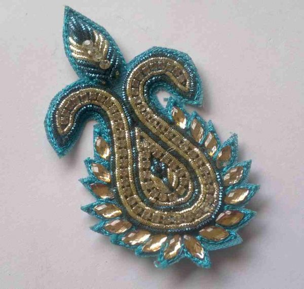 Paisley Rhinestone Embroidered Applique