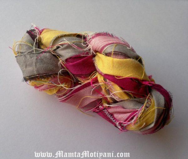 Peony and Nickel Fair Trade Sari Yarn Ribbon