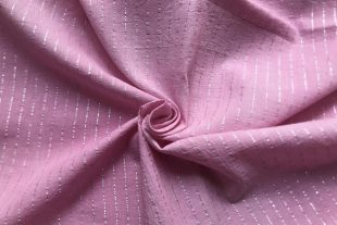 Pink Cotton Lurex Stripes Fabric