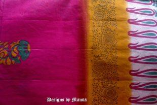 Pink Floral Block Printed Sari Fabric