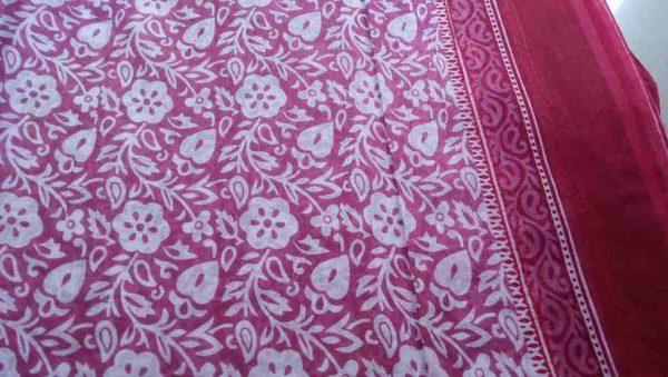 Pink Floral Indian Sari Fabric