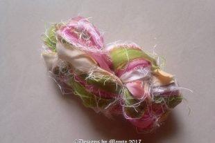 Pink Rose Silk Yarn Sari Ribbon