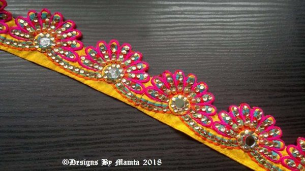 Pink Yellow Peacock Feather Trim