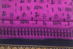 Pinkish Purple Sari Fabric
