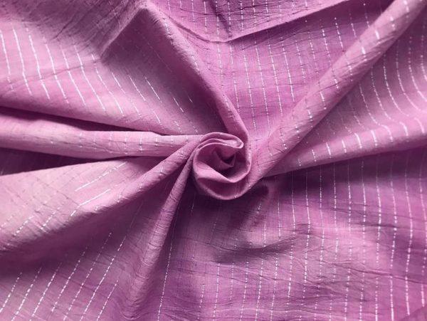 Purple Cotton Lurex Stripes Fabric