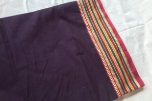Purple Cotton Saree Fabric
