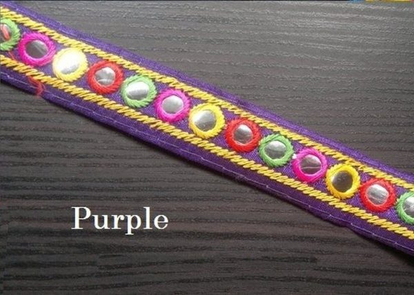 Purple Embroidered Trim
