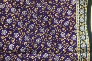 Purple Floral Cotton Sari Fabric