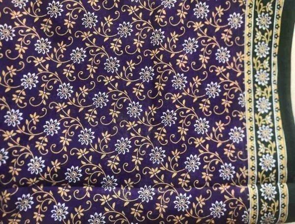 Purple Floral Cotton Sari Fabric