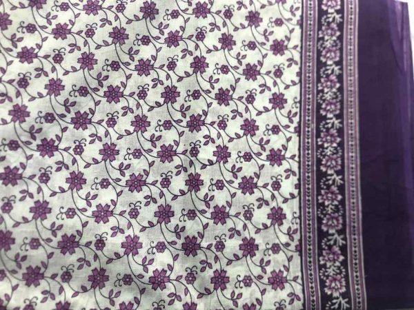 Purple Flower Cotton Sari Fabric