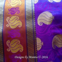 Purple Gold Paisley Sari Fabric By The Yard