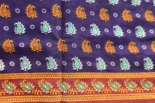 Purple Red Cotton Saree Fabric