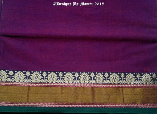 Purple Red Dual Tone Ilkal Sari Fabric