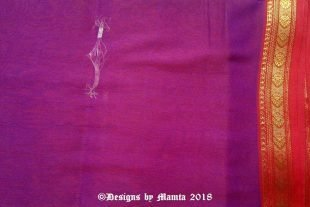 Purple Red Indian Poly Cotton Sari Fabric