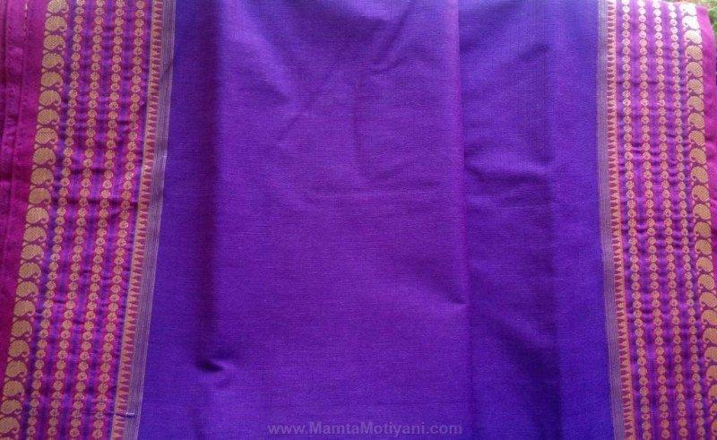 Purple Sari Fabric By The Yard With Beautiful Border Print