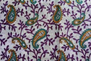 Purple Teal White Sari Fabric