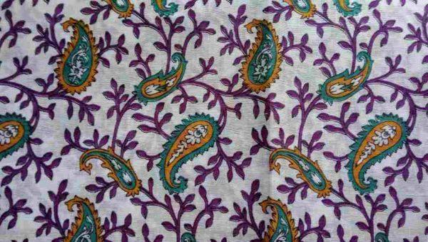 Purple Teal White Sari Fabric