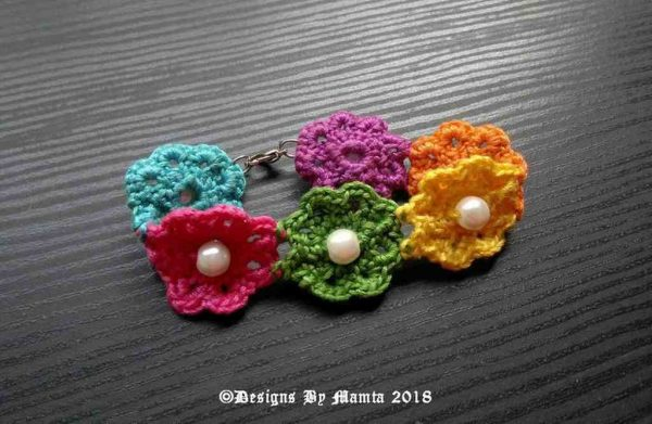 Rainbow Crochet Flowers Bracelet