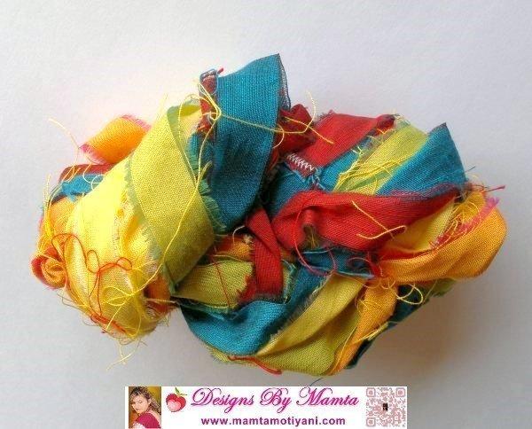 Rainbow Sari Silk Ribbon Yarn: My Handmade Creation