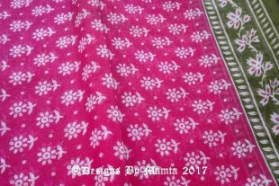 Raspberry Pink Indian Floral Sari Fabric