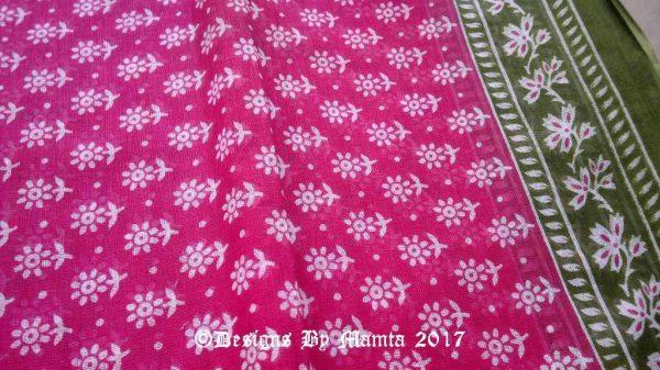 Raspberry Pink Indian Floral Sari Fabric